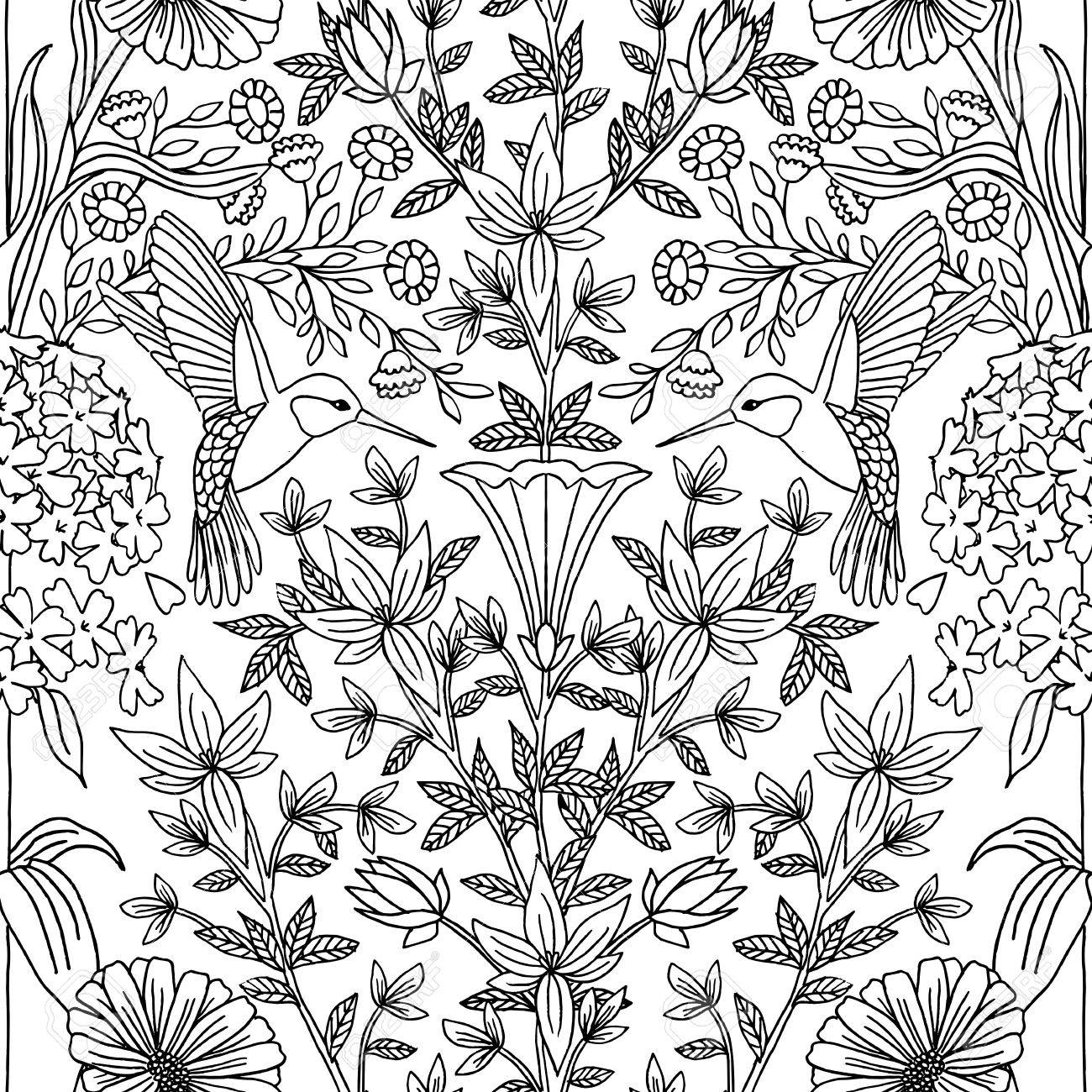 Hand drawn seamless black and white pattern with hummingbirds and flowers - 57503787
