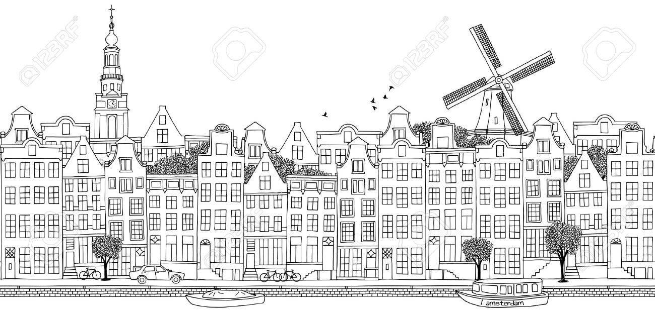 Seamless banner of Amsterdam's skyline, hand drawn black illustration - 57591817