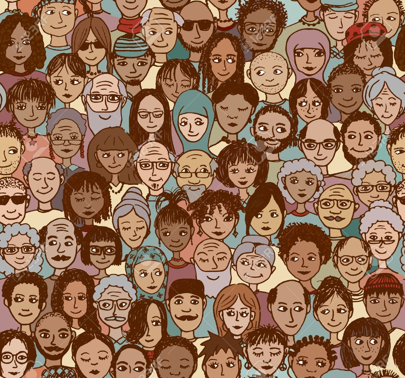 Diverse crowd of people - seamless pattern of hand drawn faces from various age groups, ethnic and religious backgrounds - 57591827