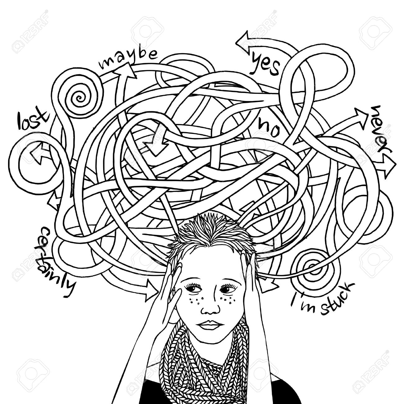 Confused decision making girl, black and white ink illustration - 60560501