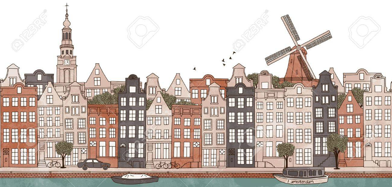 Amsterdam, Netherlands - seamless banner of Amsteram's skyline, hand drawn and digitally colored ink illustration - 67085423