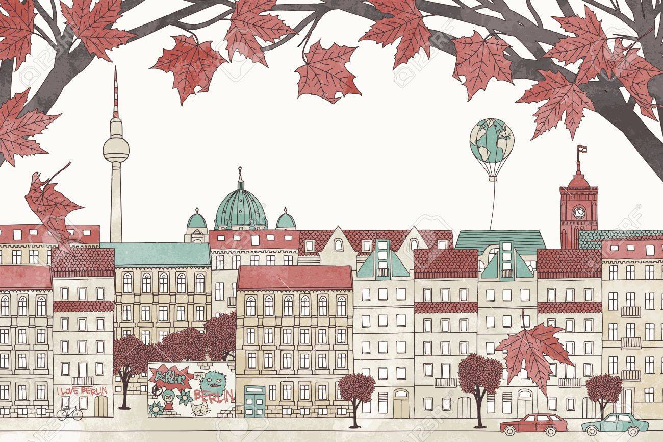 Berlin in autumn - colorful hand drawn illustration of the city with red maple branches - 64562361