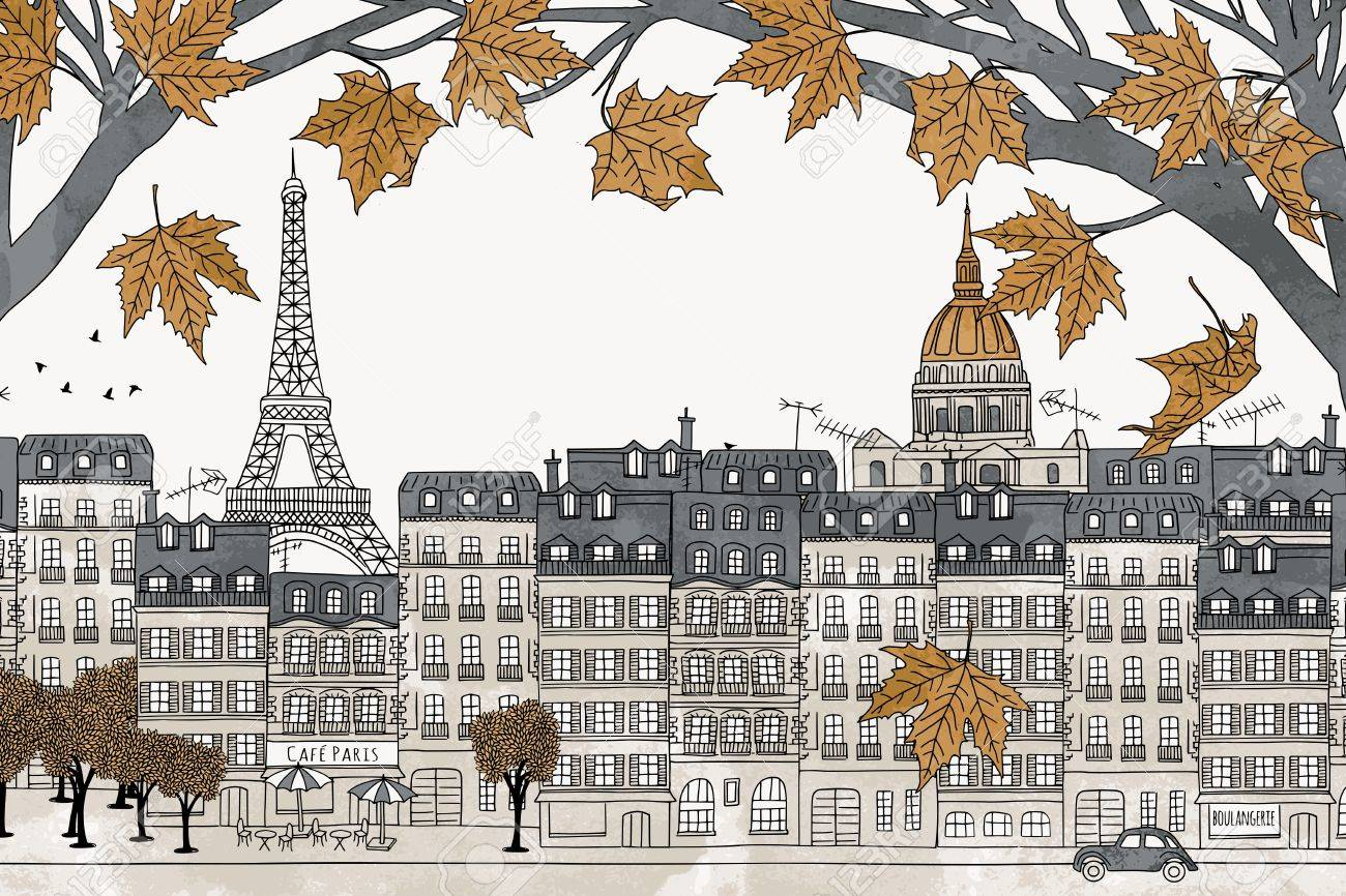 Paris in autumn - colorful hand drawn illustration of the city with yellow maple branches - 64562398