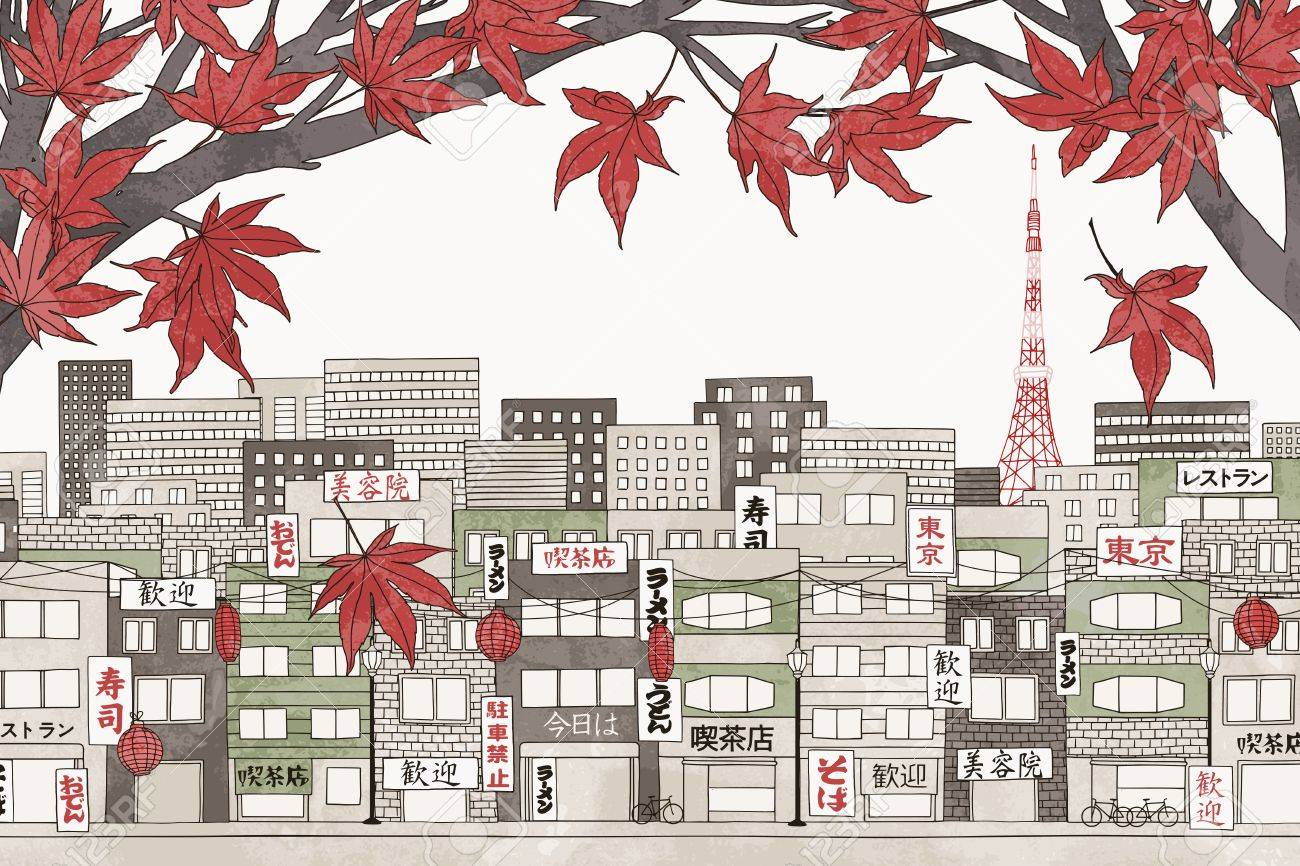 Tokyo in autumn - colorful hand drawn illustration of the city with red Japanese maple branches - 64562399
