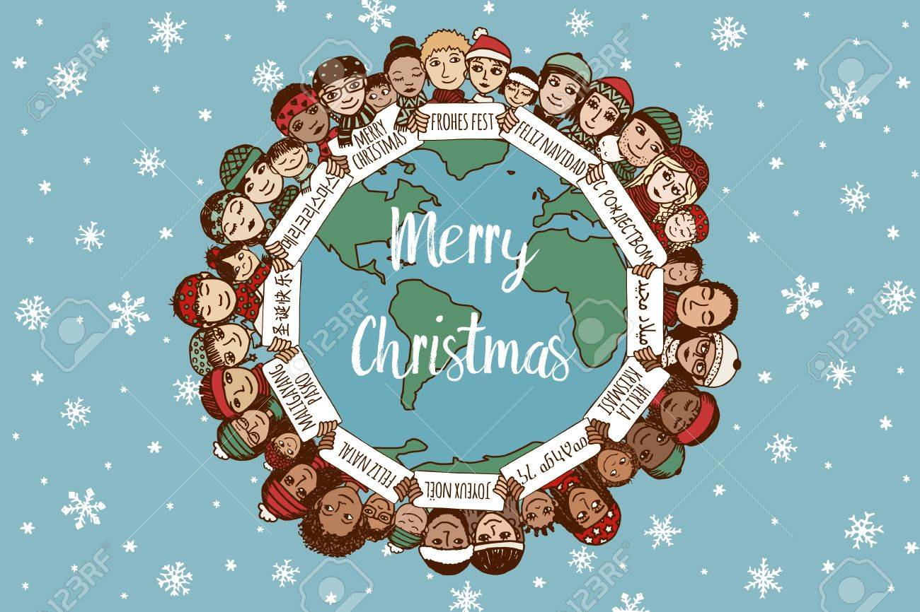Christmas around the world - hand drawn doodle families with Merry Christmas signs in different languages - 64562448