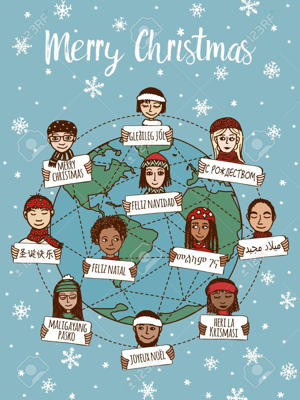 Christmas around the world - hand drawn doodle faces with Merry Christmas signs in different languages - 64562447