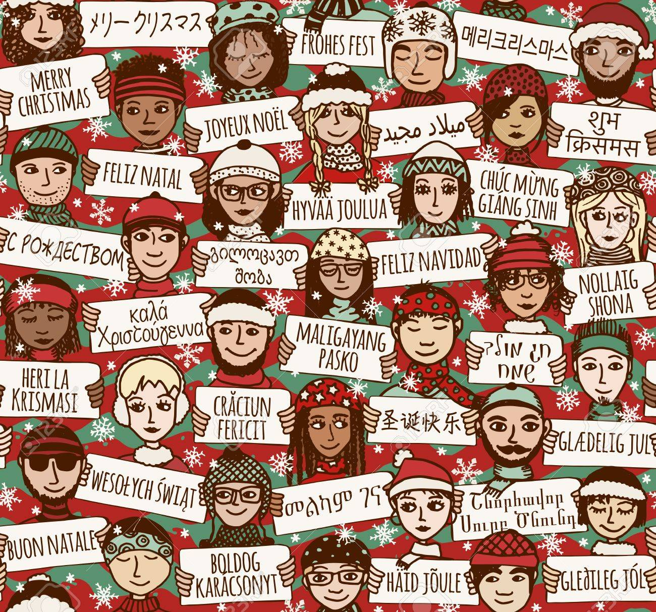 """Seamless pattern of a group of hand drawn people holding """"Merry Christmas"""" signs in different languages - 64562441"""
