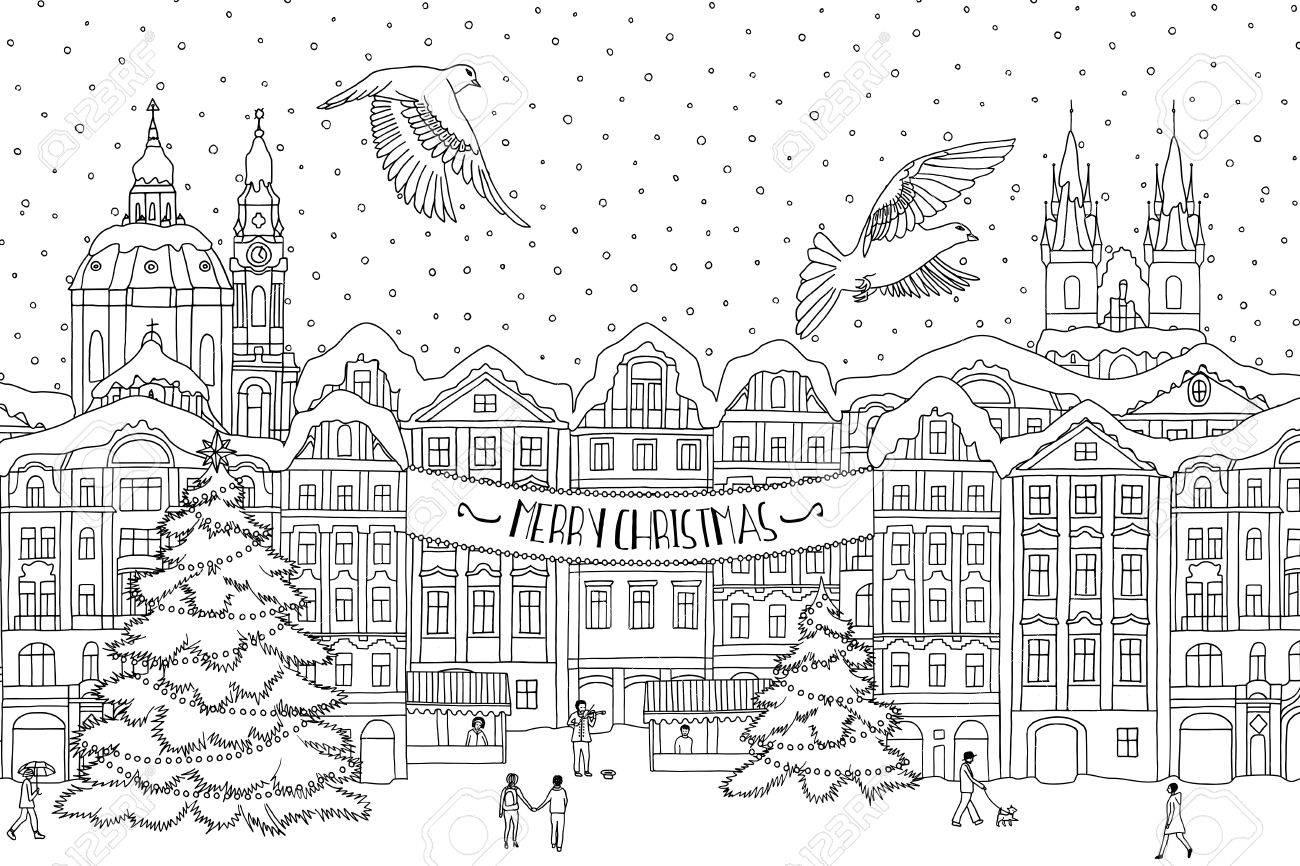 Immagini Natale In Bianco E Nero.Illustrazione In Bianco E Nero Disegnata A Mano Di Una Citta In Inverno A Natale Disegni Disegnati A Mano Per La Colorazione Disegno Inchiostro In