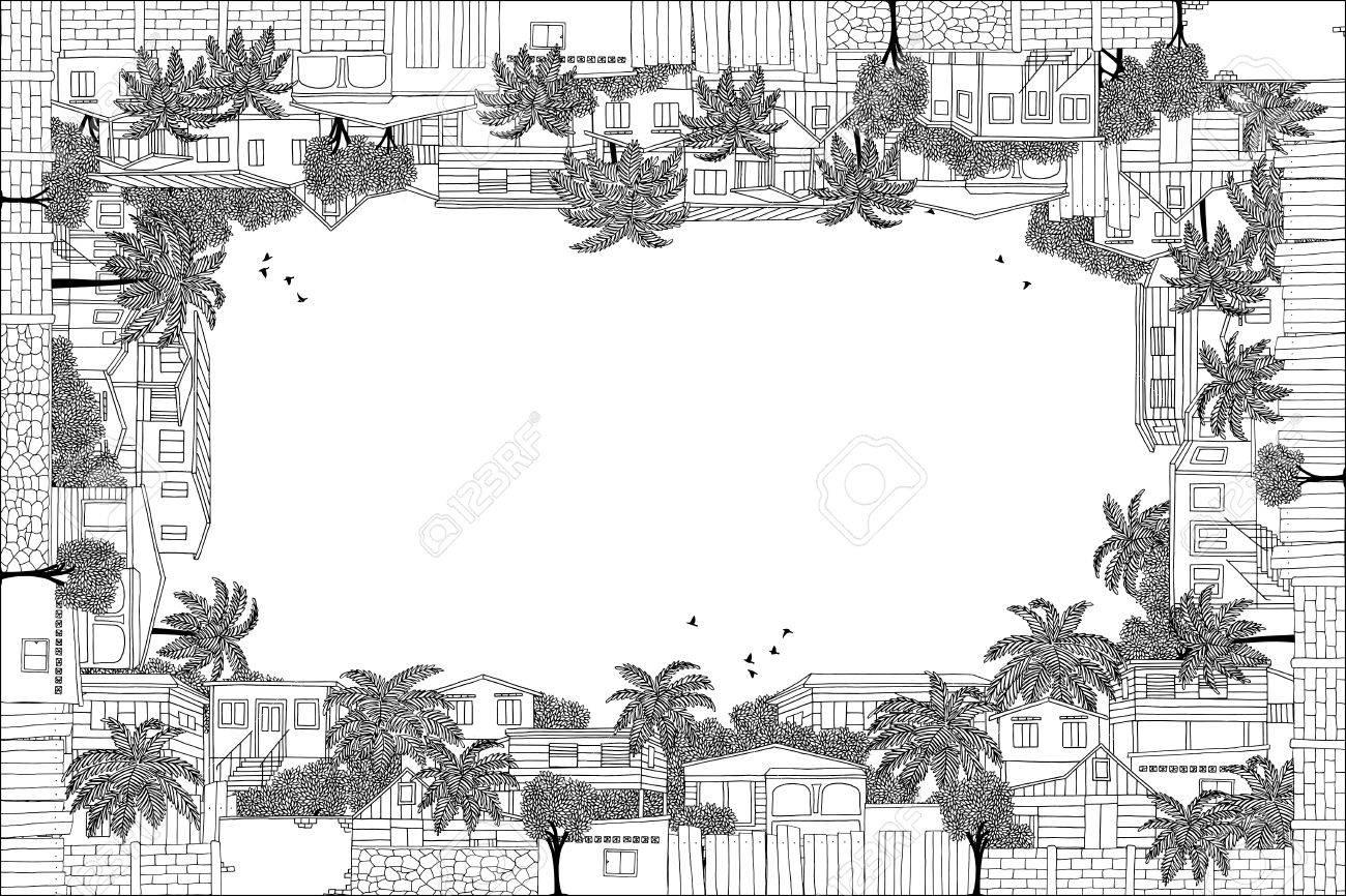 Marco De La Tarjeta De Felicitación Con El Dibujado A Mano Palafitos Del Caribe Y Palmeras