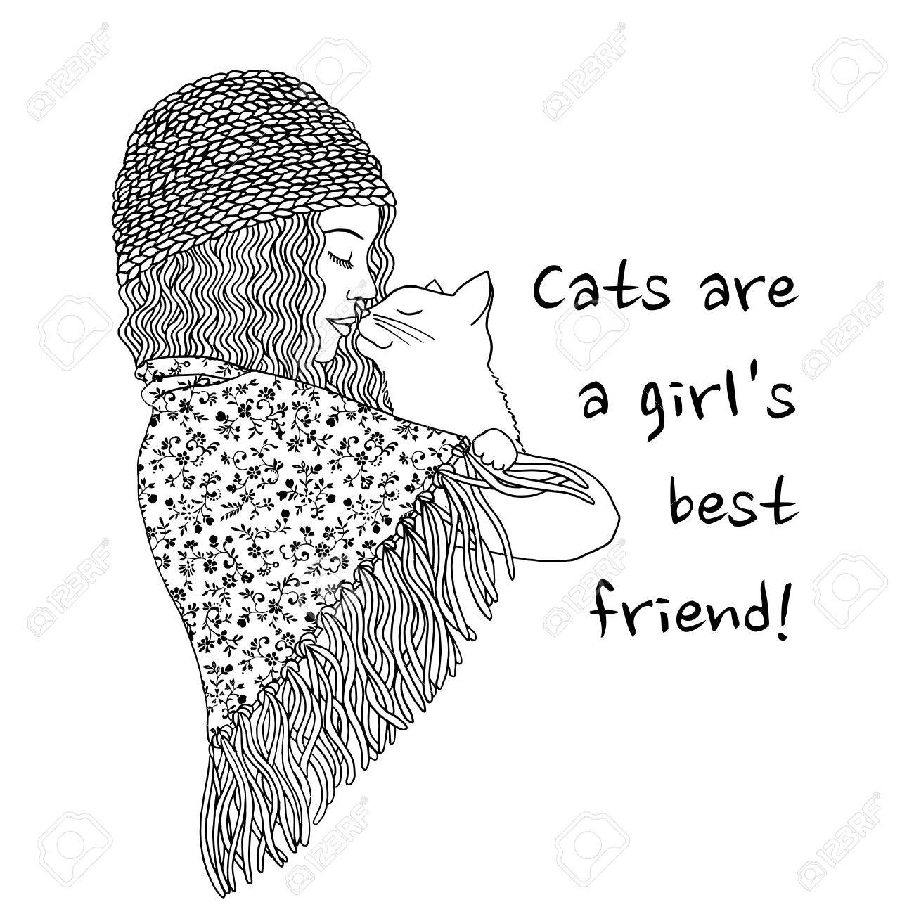 Cats are a girls best friend hand drawn black and white illustration