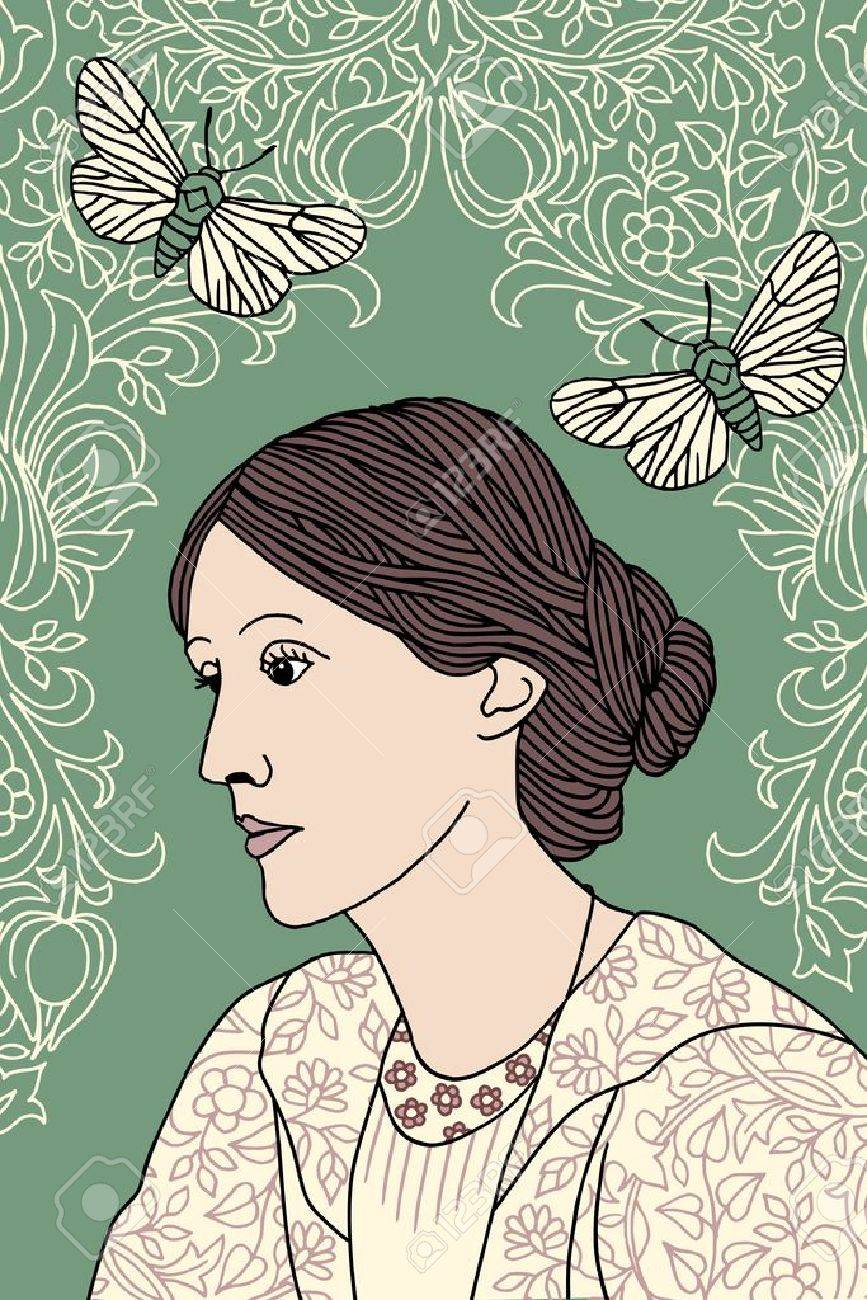 Hand drawn portrait of Virginia Woolf, with green background, butterfly moths and Victorian flower pattern - 68695017