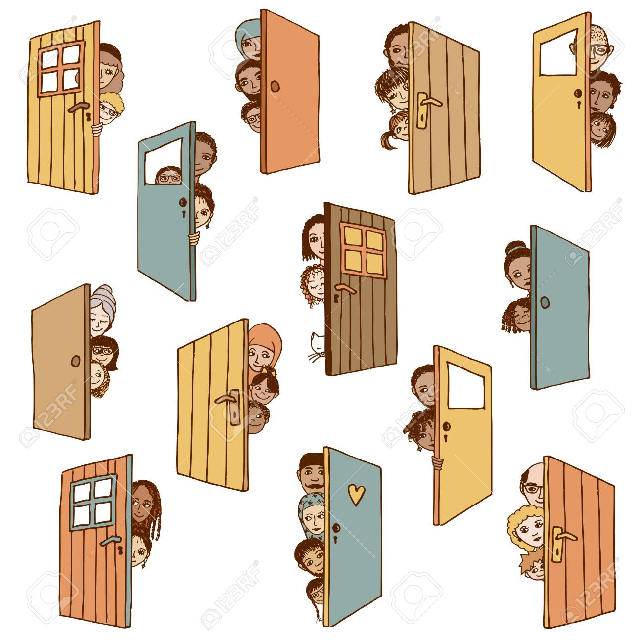 Funny and cute hand drawn illustration of various people and children hiding behind doors or  sc 1 st  123RF.com & Funny And Cute Hand Drawn Illustration Of Various People And ...
