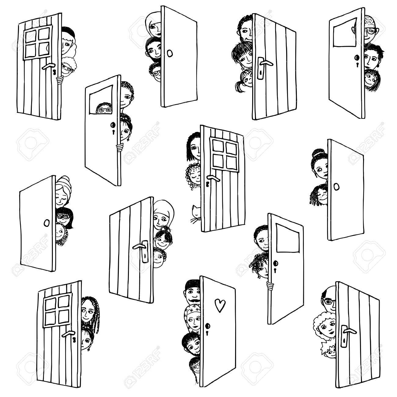 Funny and cute hand drawn illustration of various people and children hiding behind doors, or opening doors to welcome guests - 73512096