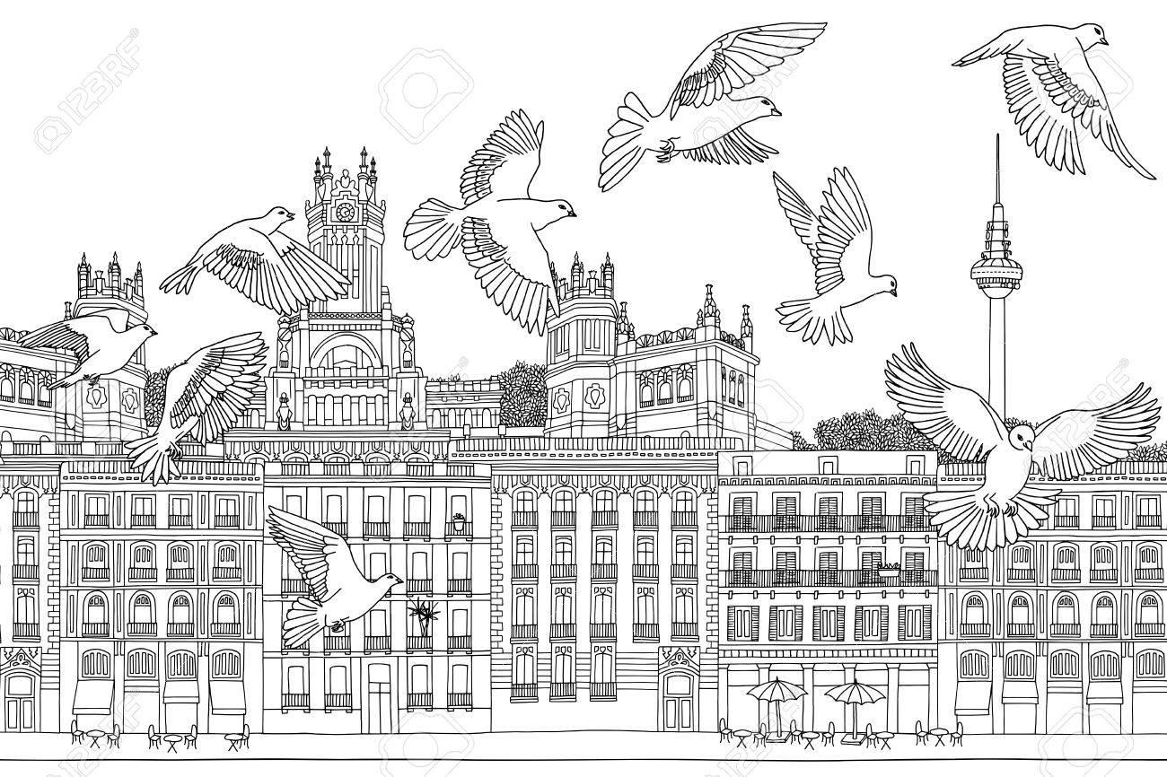 Oiseaux Sur Madrid Dessin Noir Et Blanc Tiré à La Main De La Ville Avec Un Troupeau De Pigeons