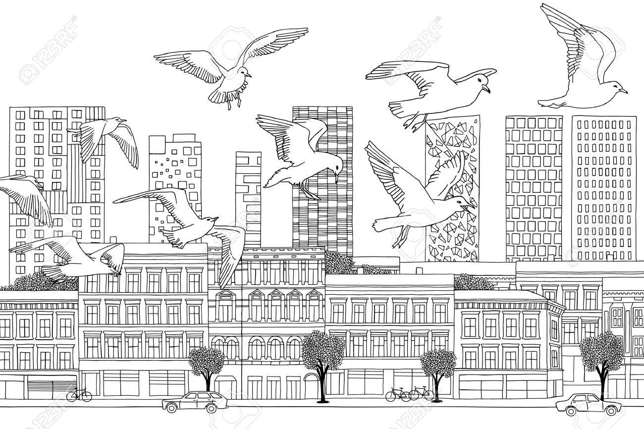 Birds Over Oslo Hand Drawn Black And White Illustration