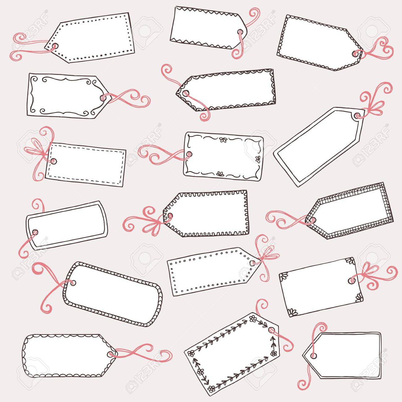 hand drawn cute gift labels or price tags with pink bow royalty