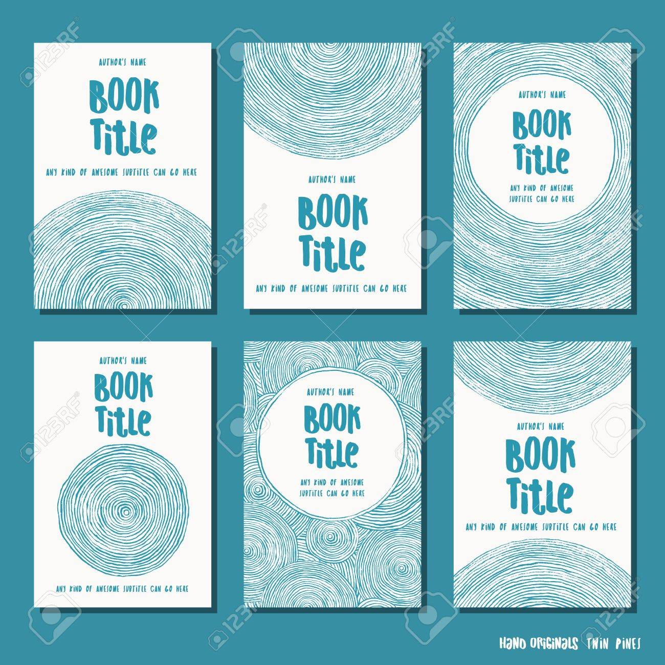 Abstract brush circle - set of six hand drawn book cover templates - 83019114