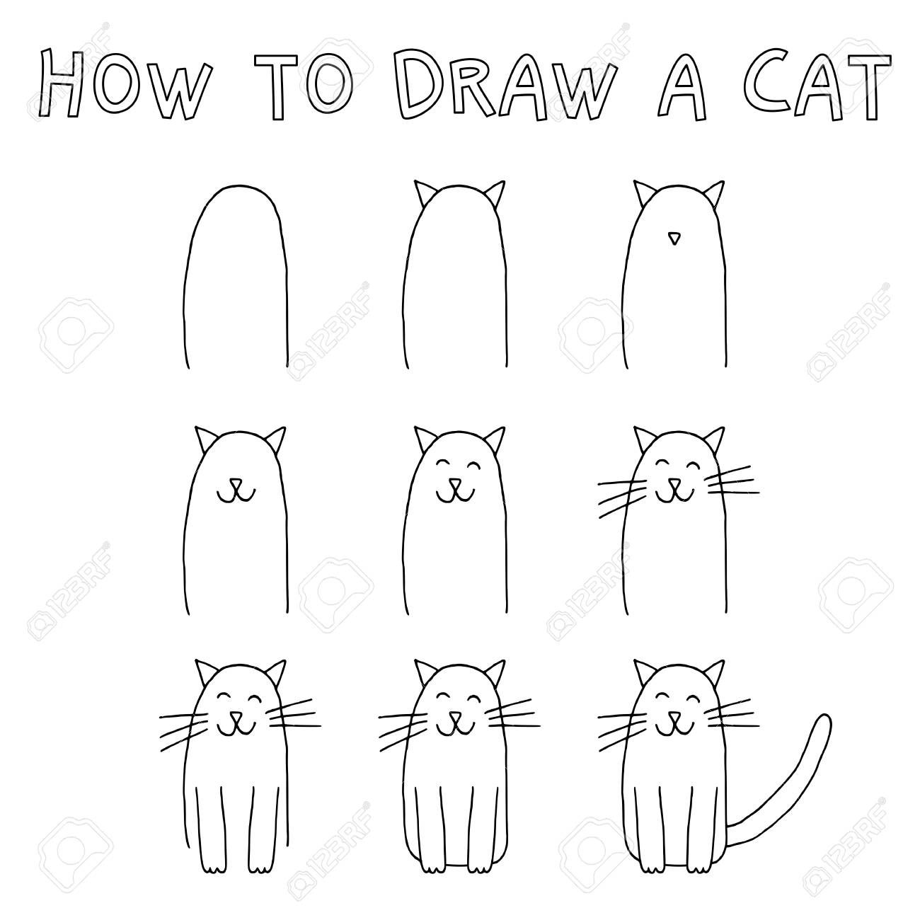 How to draw a cat step by step stock vector 88393489