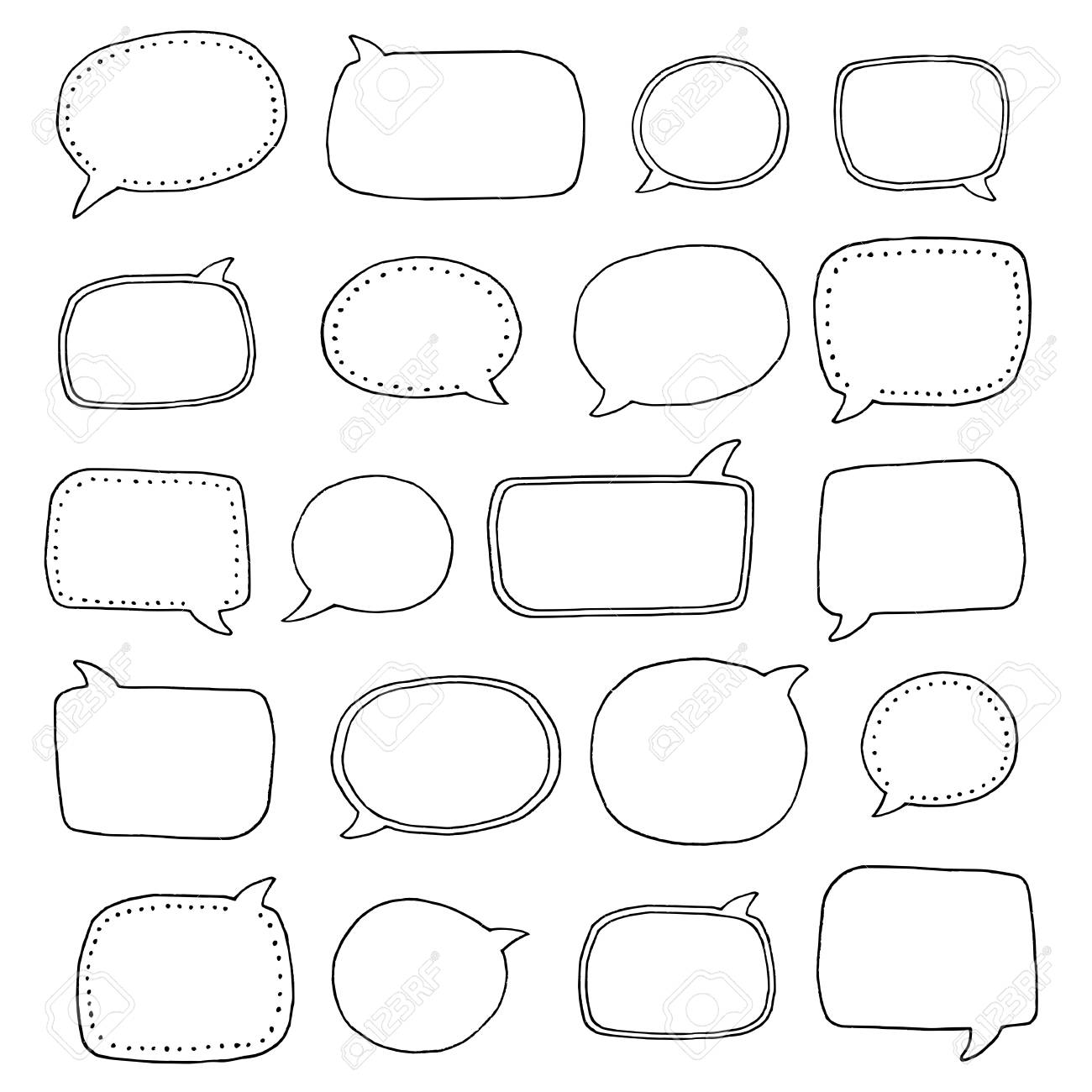 Collection of various hand drawn speech bubbles - 88404890