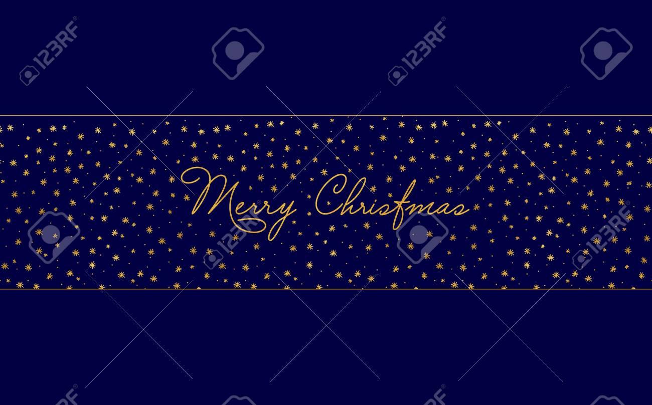 Simple Christmas Card Template Dark Blue Background With Gold - Christmas card template blue
