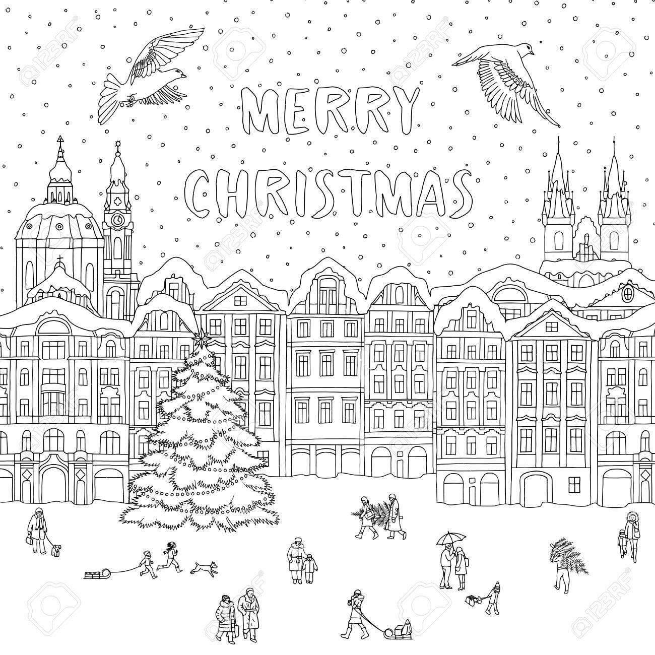 Biglietti Di Natale On Line.Citta In Inverno A Natale Line Art Per Colorare O Biglietto Di Auguri