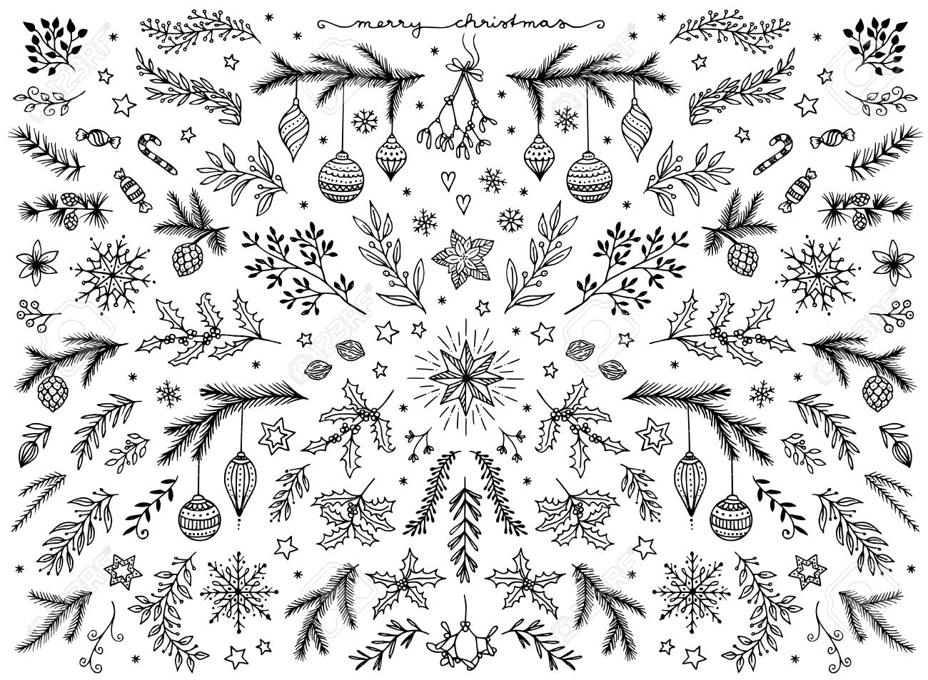 Hand sketched floral design elements for Christmas - 88602370