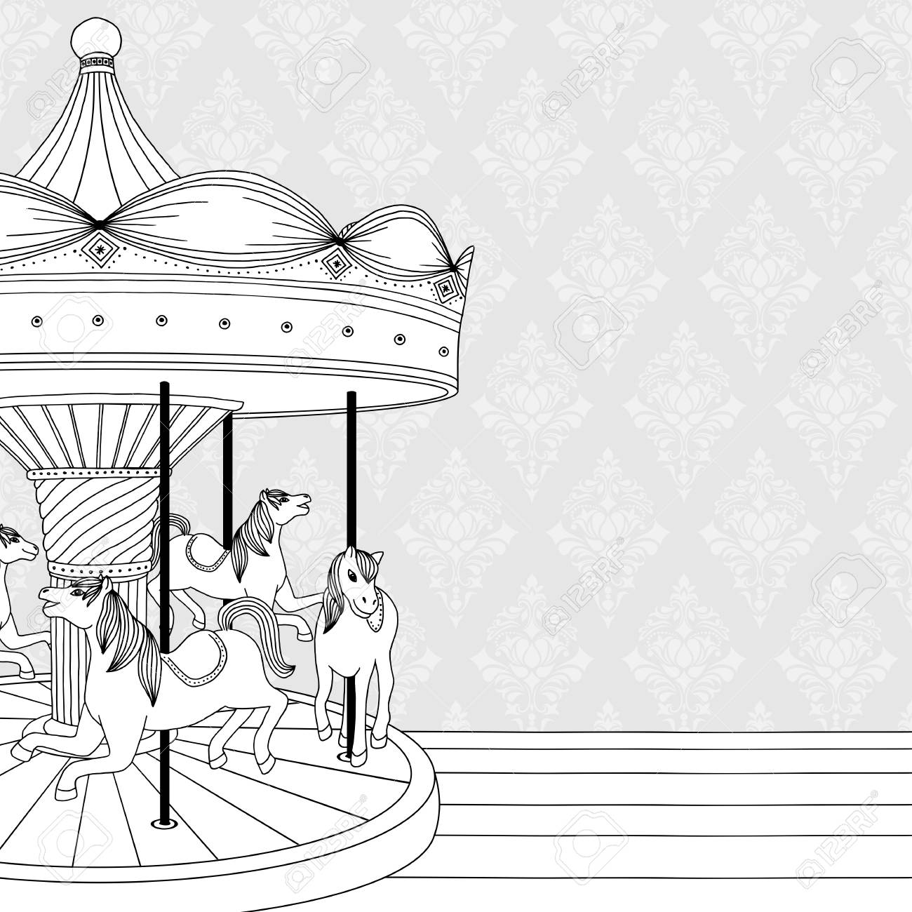 Hand drawn black and white illustration of a carousel with horses,..