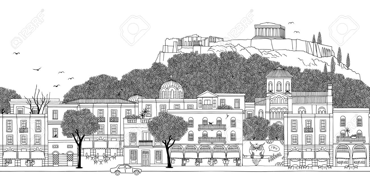Athens, Greece - Seamless banner of the city's skyline, hand drawn black and white illustration can be tiled horizontally. - 98256906