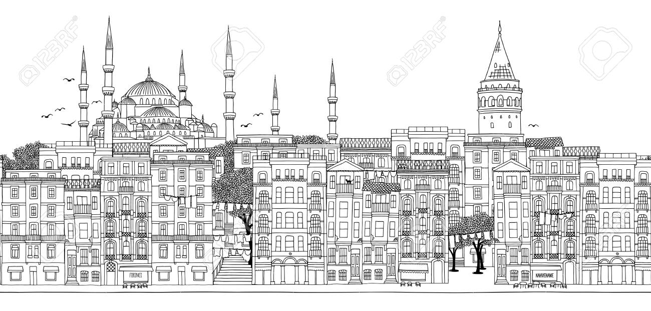 Seamless banner of the city's skyline, hand drawn black and white illustration - 98256908