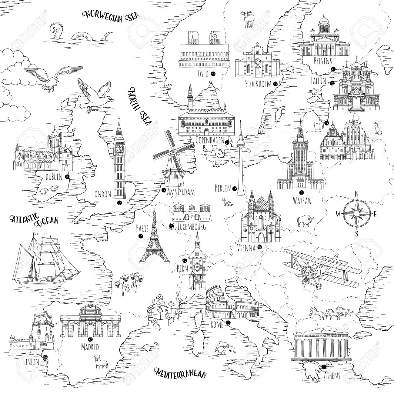 Hand drawn map of Europe with selected capitals and landmarks, vintage style - 104080112