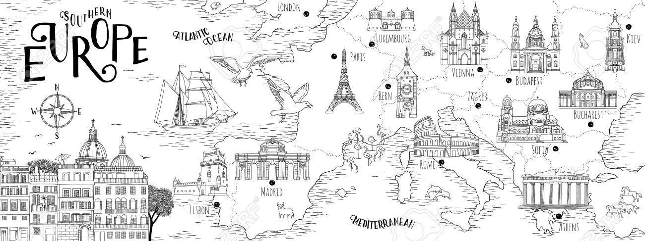 Hand drawn map of Southern Europe with selected capitals and landmarks, vintage web banner - 103749798