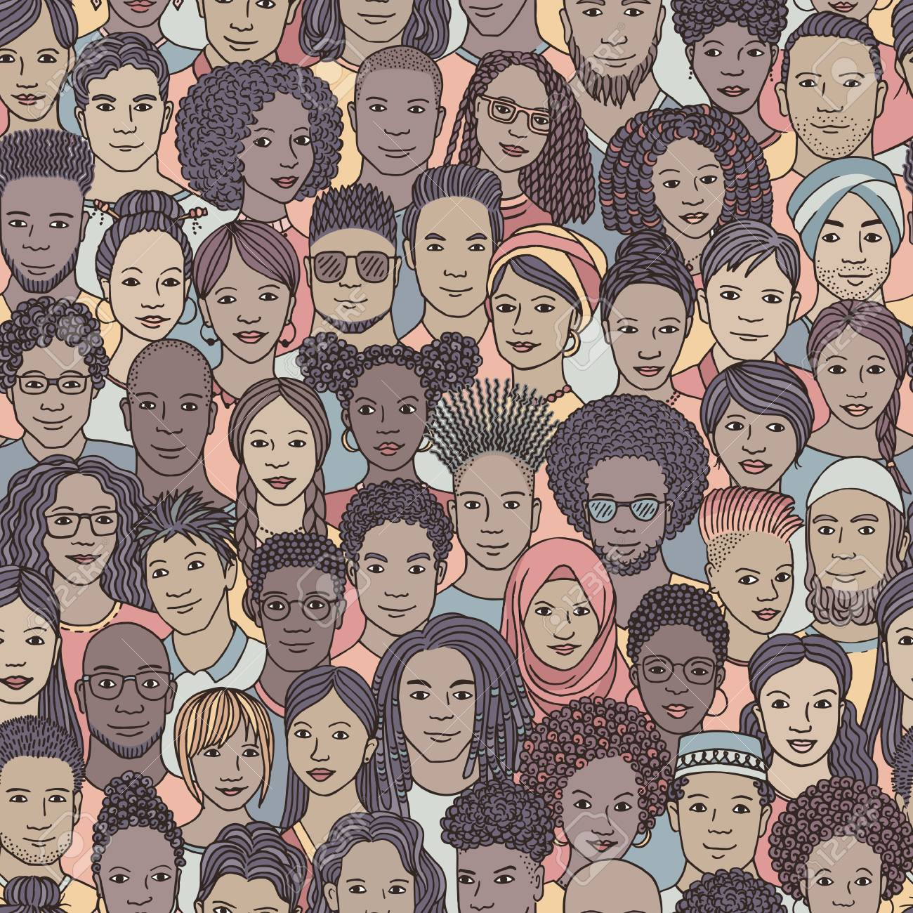 Diverse crowd of people - seamless pattern of hand drawn faces of various ethnicities - 107283259