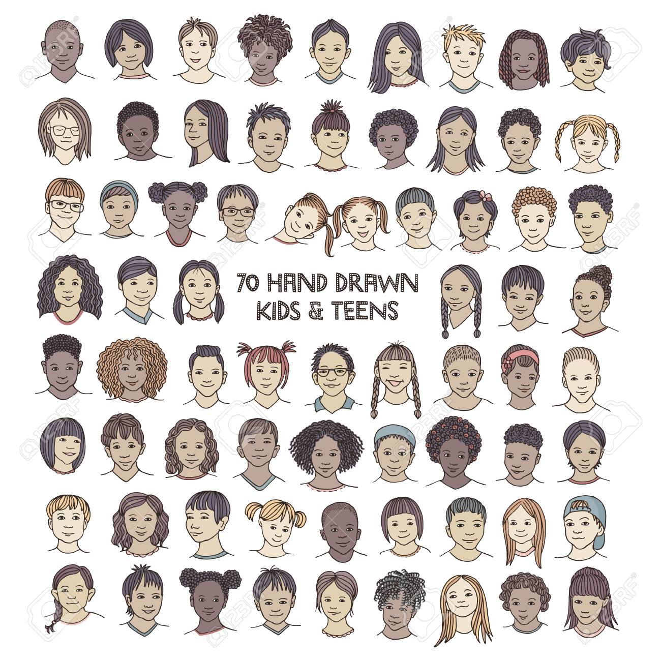 Set of seventy hand drawn children's faces, colorful and diverse portraits of kids and teens of different ethnicities - 117796649