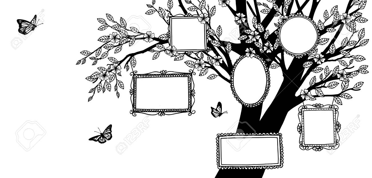 Hand drawn illustration of a family tree, banner with tree and empty picture frames - 117796652