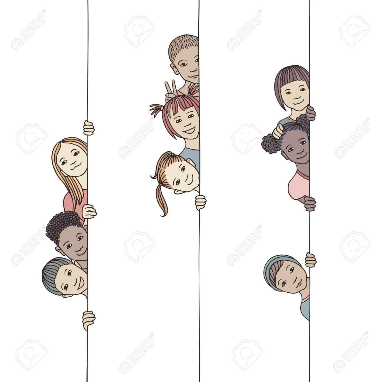 Hand drawn illustration of young and diverse children looking around the corner - 117796654