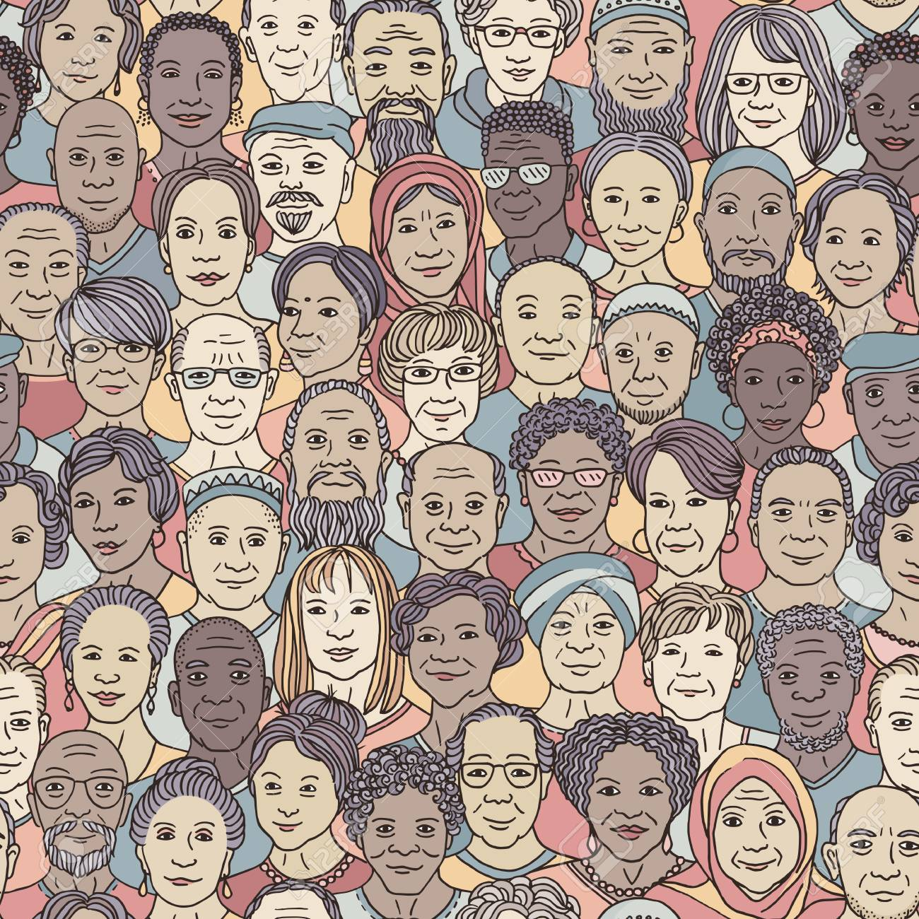 Diverse group of older people 50+ - seamless pattern with hand drawn faces, senior citizens of various ethnicities - 121632371