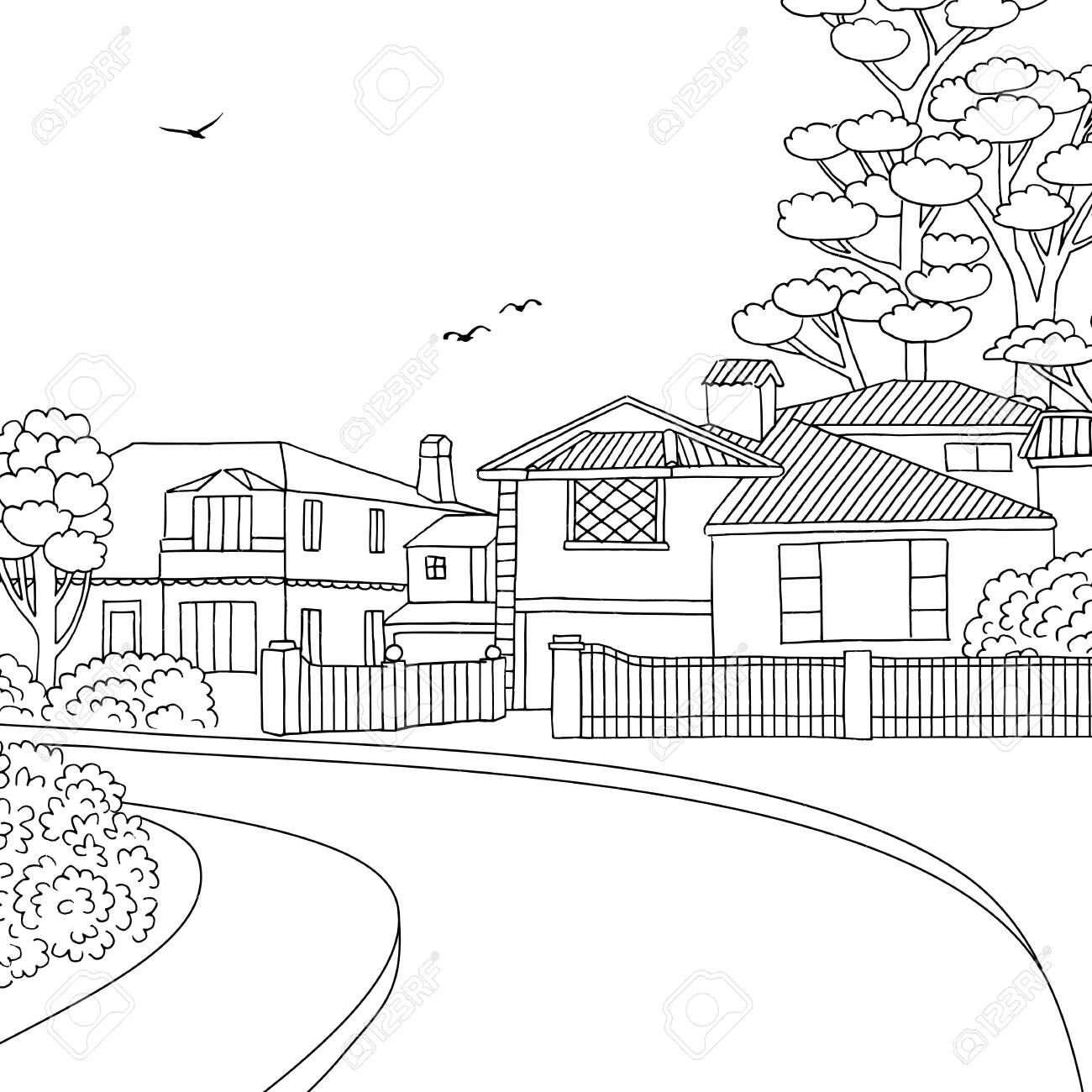 Hand drawn black and white illustration of a middle class suburban neighbourhood with houses, yard, pavement and trees - 128803680