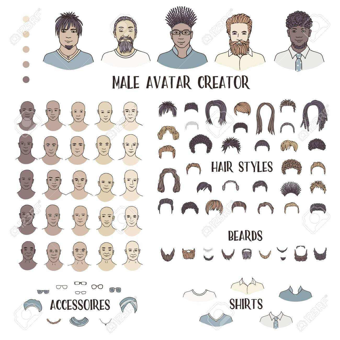 Male Avatar Creator Hand Drawn Faces And Hairstyles To Create Royalty Free Cliparts Vectors And Stock Illustration Image 128803819