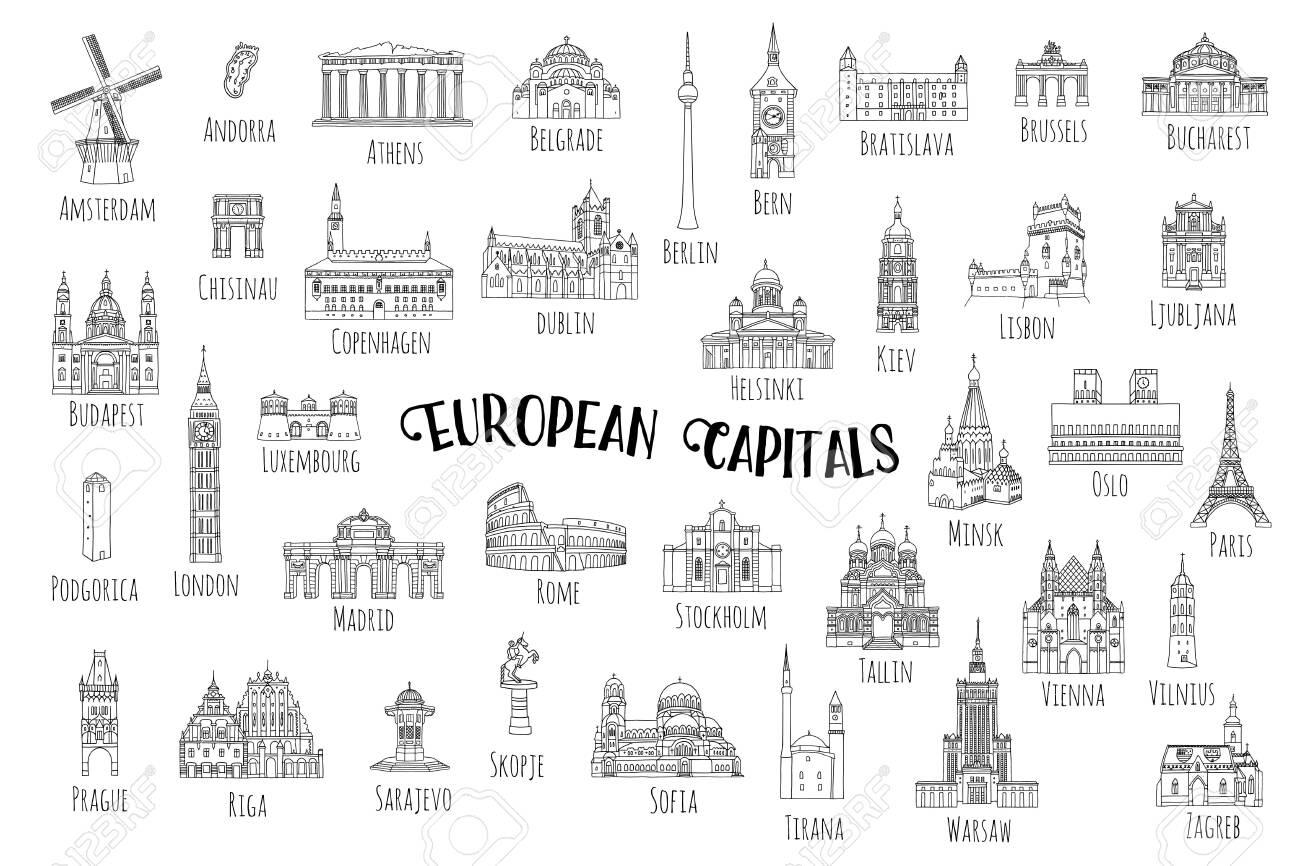 Set of 37 hand drawn landmarks from various european capitals, black ink illustrations - 128803823