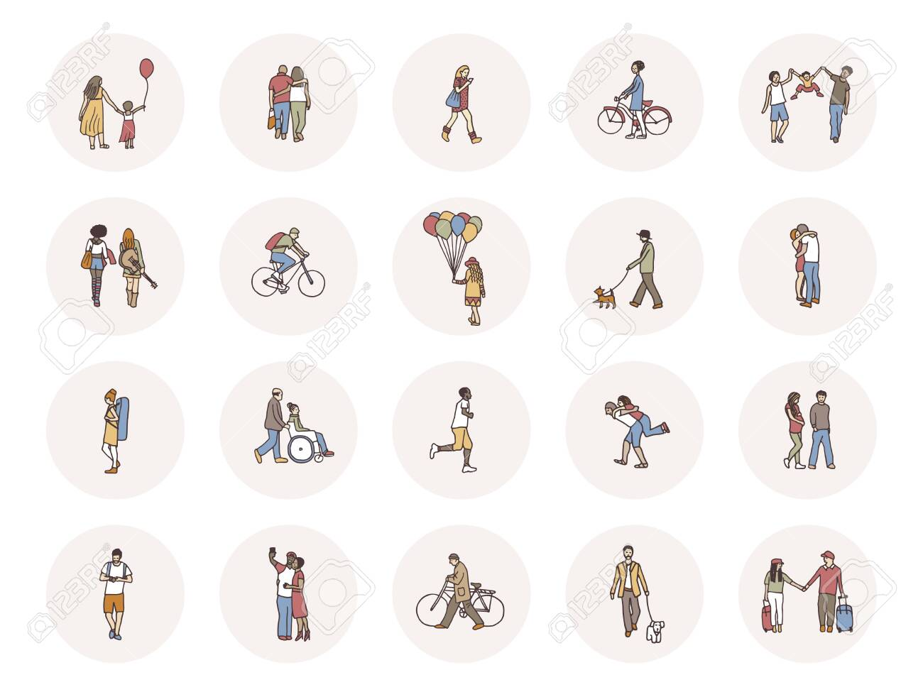 Social media icons with tiny pedestrians walking through the street - 131767107