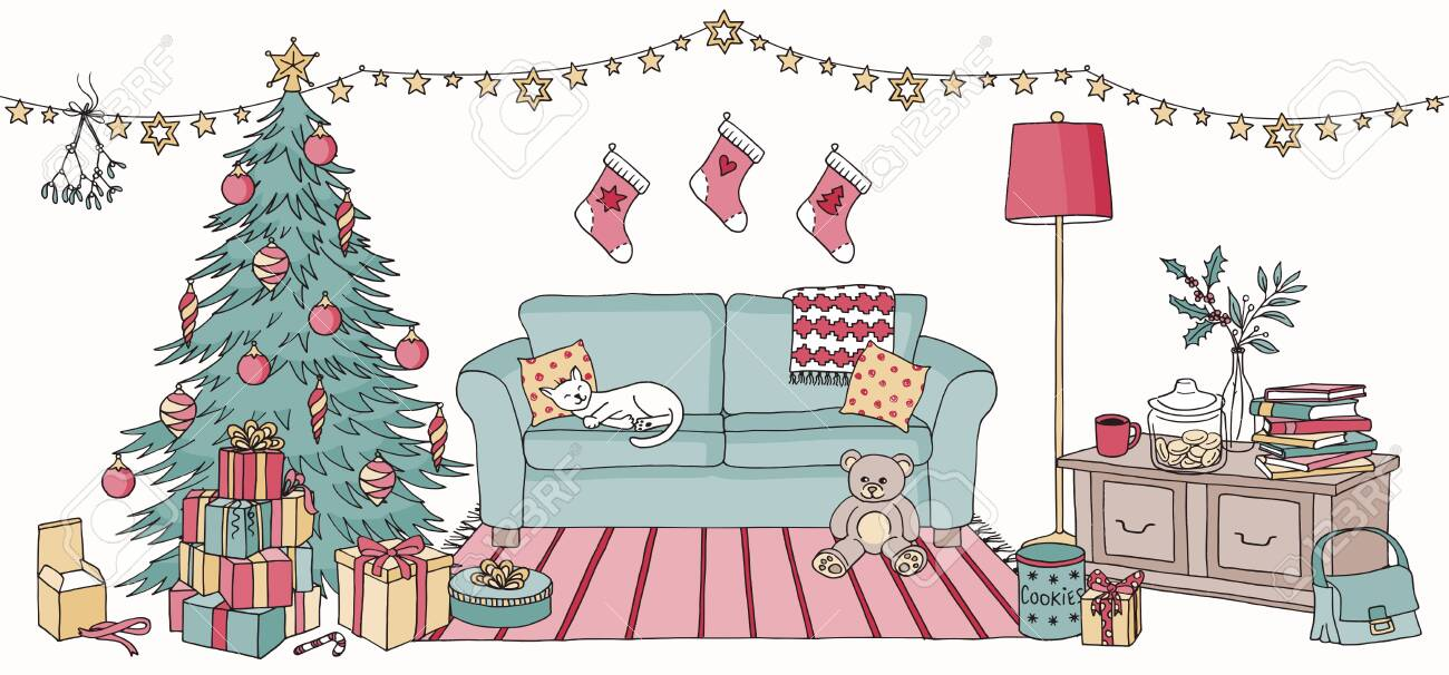 Hand Drawn Illustration Of A Living Room With Christmas Decoration Royalty Free Cliparts Vectors And Stock Illustration Image 133461959