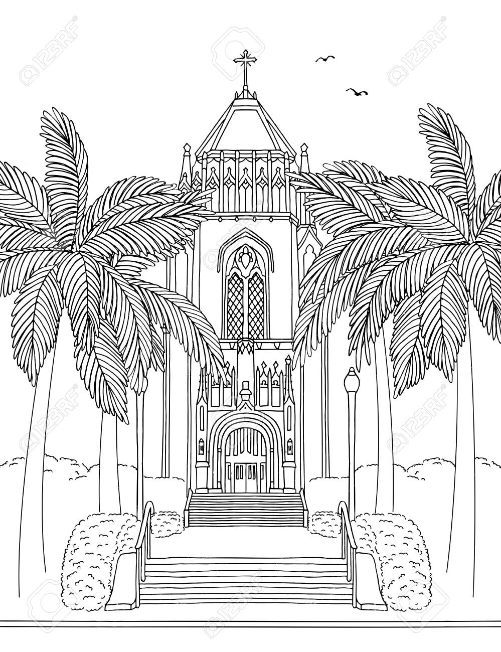 Hand drawn ink illustration of the San Francisco University Lone Mountain Tower, California - 131593747