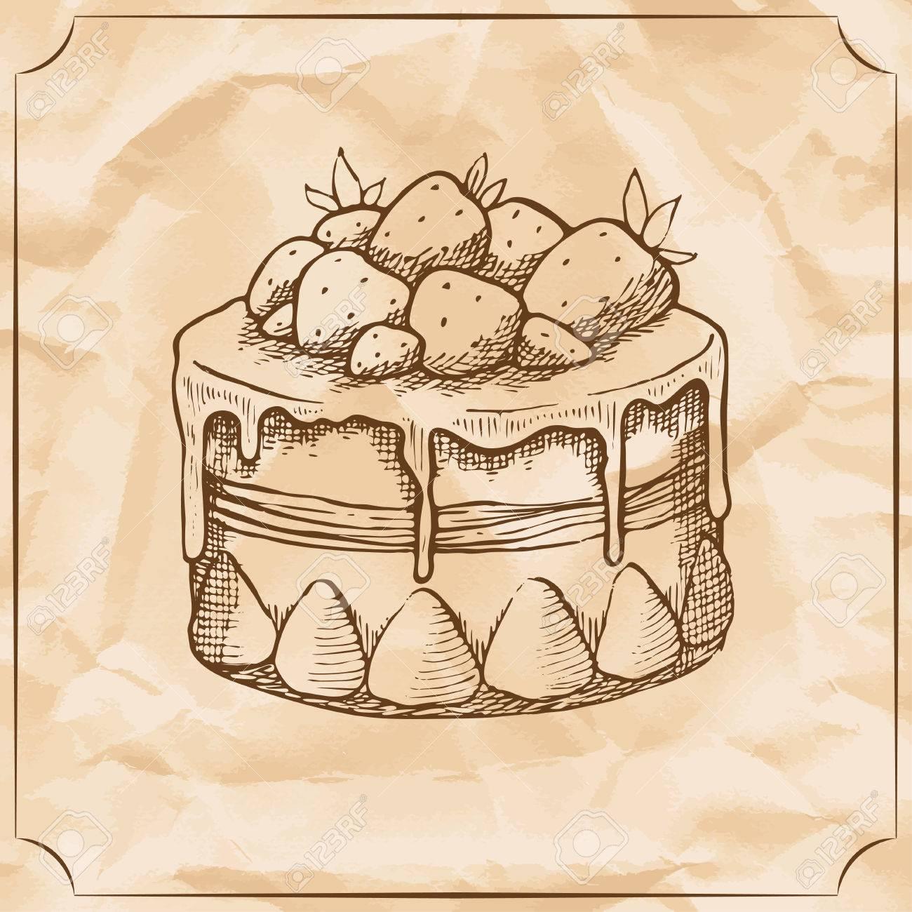 Susser Retro Kuchen Mit Erdbeeren Behandeln Sie Zum Geburtstag