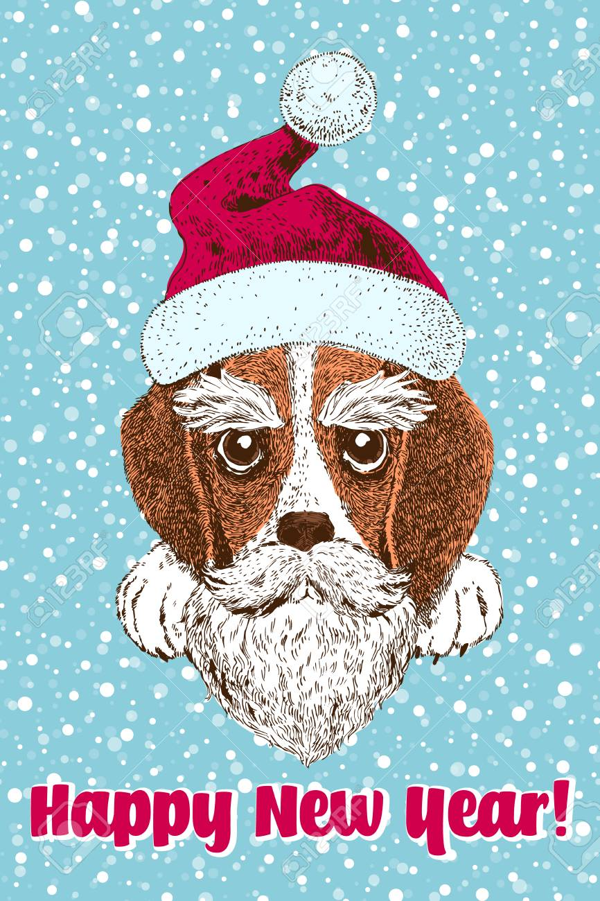 New year design greeting card with cute beagle puppy in santa cap new year design greeting card with cute beagle puppy in santa cap voltagebd Gallery