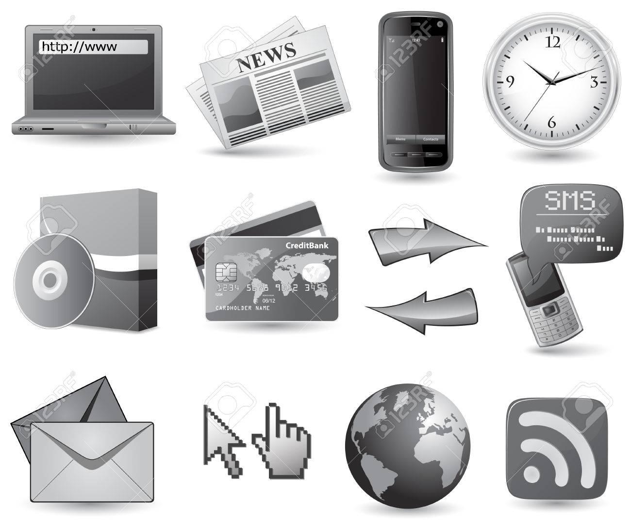 Business website icon set - grey Stock Vector - 5802062