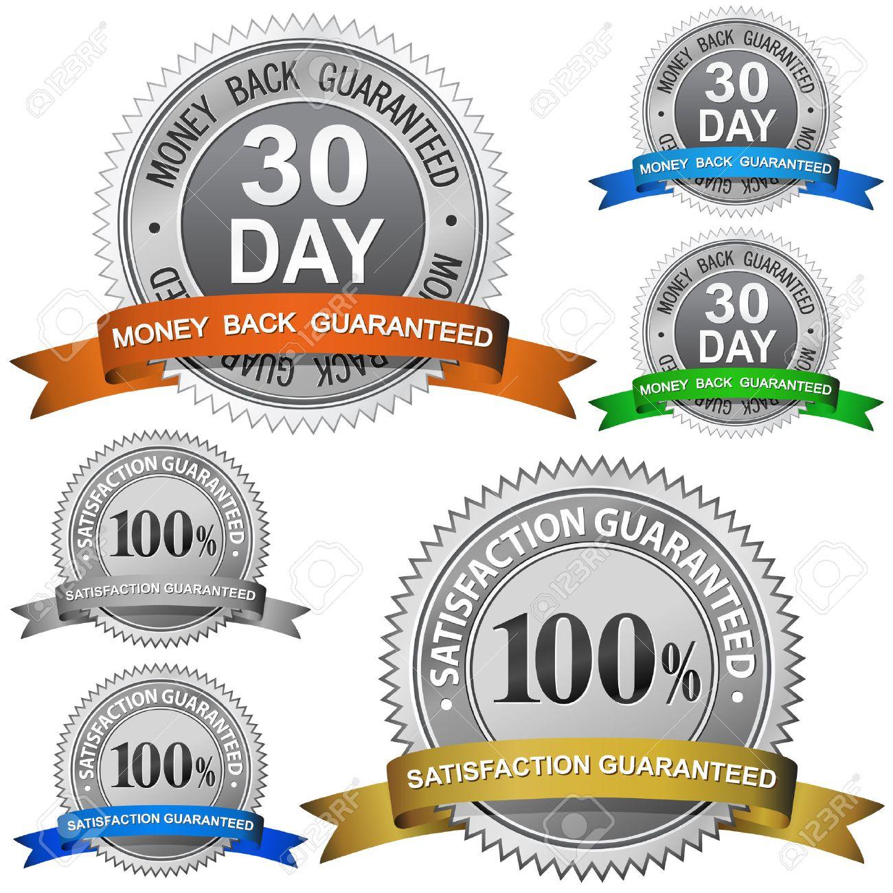 30 Day Money Back Guaranteed and 100% Satisfaction Guaranteed Sign Set Stock Vector - 6358209