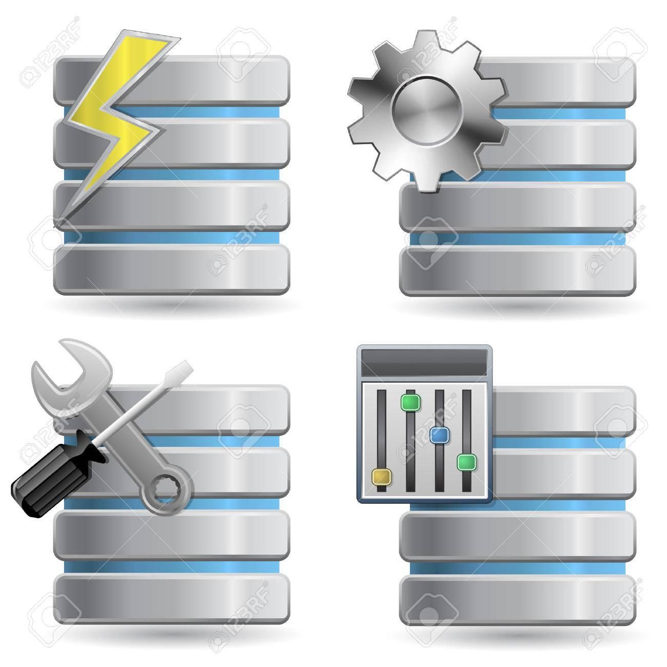 Database - Web Hosting Icons Stock Vector - 6815624