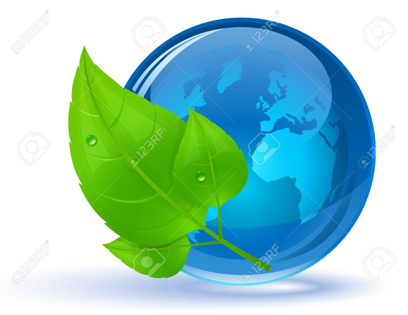 Globe and green leaves with drop of water. Eco Concept. Stock Photo - 6894158