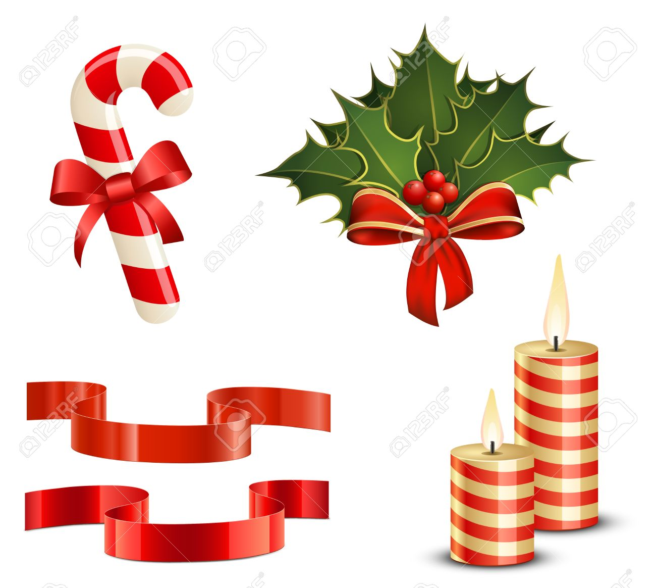Christmas Icon Set. Candy Cane, Christmas Holly, Ribbons And ...