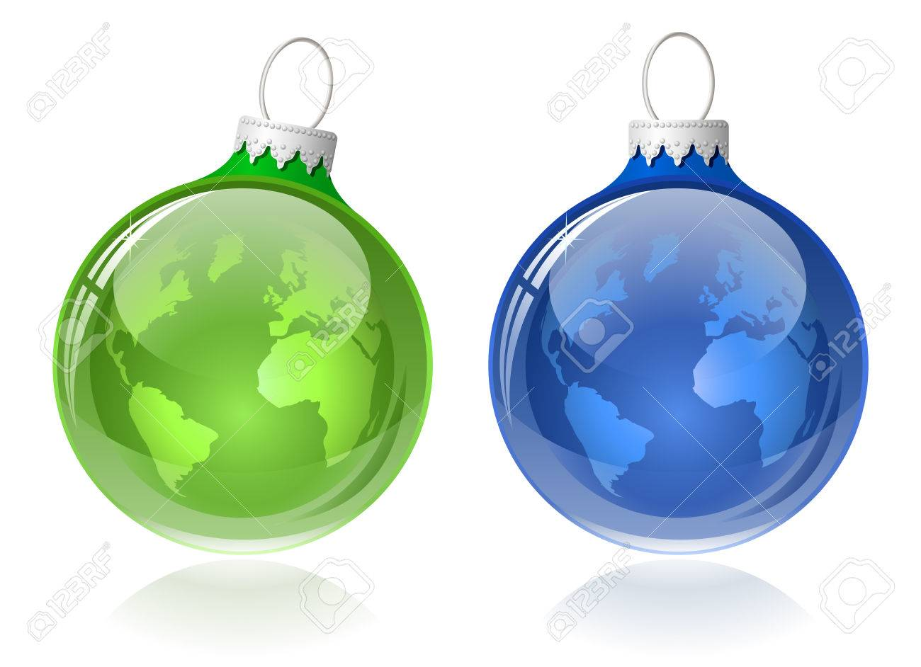 World globe christmas ornaments - Globe Christmas Balls Christmas Baubles With World Map Stock Vector 8307065